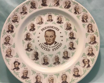 Lyndon B. Johnson President Plate in Box