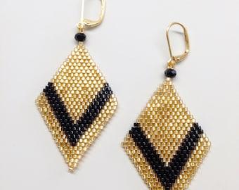 Brick stitch earrings black and gold earrings-black and gold-elegant