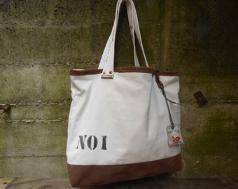 Tote bag, canvas & suede leather, Ivory/brown. hand painted, recycled belt. Handmade