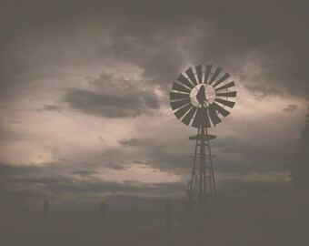 Silhouette Windmill Photograph,  Farm, Rustic, Prints and Canvas available, Home Decor, Art, Large Art,