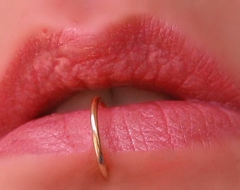 Rose Gold Lip Ring / REAL Pierced Lip Jewelry / Thin Piercing Lip Ring / Lip Rings for Pierced Lips - CUSTOM SIZING