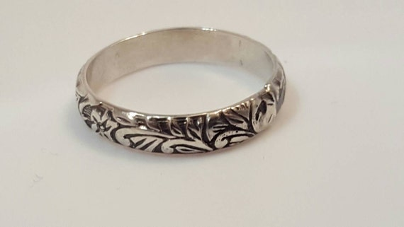 Ladies Sterling Silver Stacking Ring - Flowers and Vines