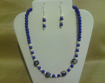 263 Antique Style Deep Blue Miracle Glass and Cloisonné Beaded Choker with Silver Plated Filigree Beads