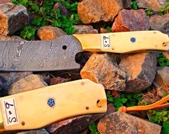 Custom hand made damascus steel knife cutter with camel bone handle & mozacia pin and beautiful leather sheet