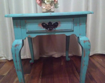 French teal vintage distressed side table