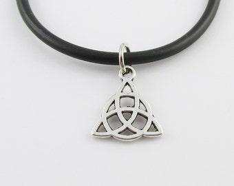 Celtic Trinity Knot Charm Pendant Choker Necklace Black Cord 45cm