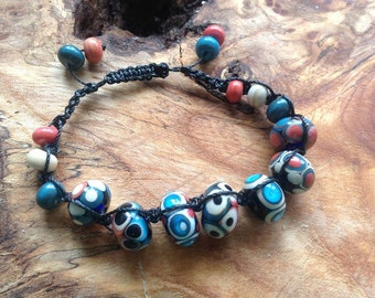 Handmade Shamballa bracelet with Flamework glass beads
