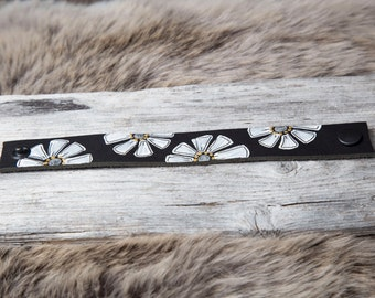 Black genuine leather bracelet with a handmade pattern