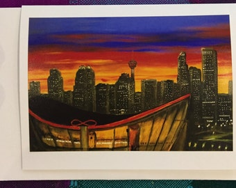 hand made greeting cards -frame-able art cards - Calgary skyline with saddledome