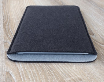 sleeve for iPad 2 / iPad 3 / iPad 4 · wool felt (100% wool) case cover · made in Germany · color: ANTHRACITE/LIGHT GREY