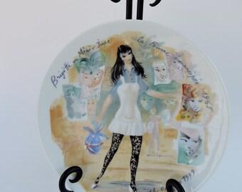 D'Arceau-Limoges porcelain plate Les Femmes du Siecle 1965, Collectible Plate, Vintage French Fashion Plate