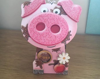 3D Pig Box Pop Card