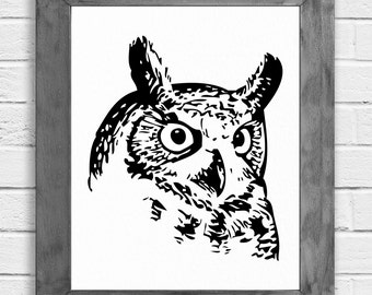 Owl Art Print, Owl Print, Owl Art, Owl Wall Art, Owl Wall Decor, Owl Decor, Minimalist Art, Shabby Chic, Rustic, Woodland, Cottage Chic