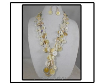Shades of White Crochet Button Necklace and Earring Set