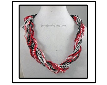 Black, White, and Red Crochet Curly Necklace/Scart