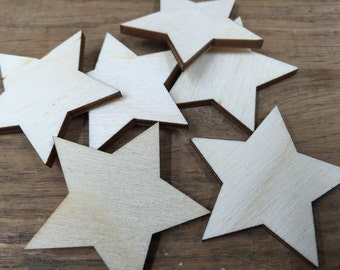 Crafting Supplies - 25 Laser cut wooden stars