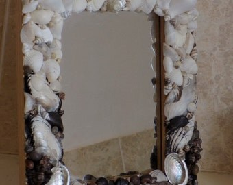 Black and white Seashell Mirror
