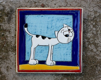 Handmade Ceramic Picture, Handmade Tiles with cat, Tile with cat, Children room decor, Gift for kids, Cat lover gift, Cat lover ceramic tile