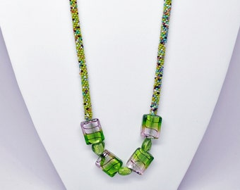 Crocheted Green Seed Bead Necklace