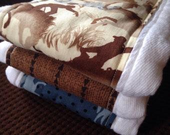 Cowboy burp cloth set
