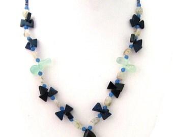 Natural Amethyst & Aquamarine Necklace - AJS344