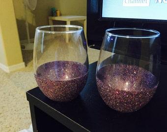 Set of 2 Purple Wine Glasses!