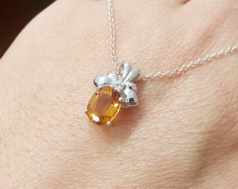 Natural Oval Citrine Pendant Sterling Silver