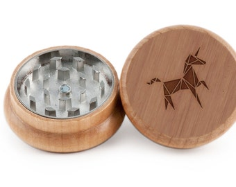 Unicorn Herb Grinder, Wood Grinder, Spice Grinder, Personalizable and Customizable Gift, Groomsmen Gift