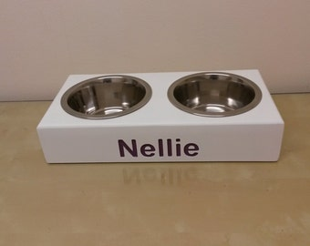 wooden dog/cat PERSONALISED FEEDING STATIONS elevated stand raised double or triple stainless steel bowls included ideal Christmas present