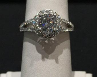 Round Brilliant Split Shank Halo Engagement Ring in 18k White Gold