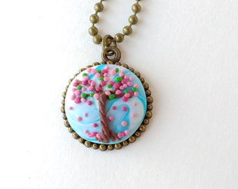 Tree of Life Pendant The Spring Polymer clay embroidery Necklace Gift for her Embroidery jewelry