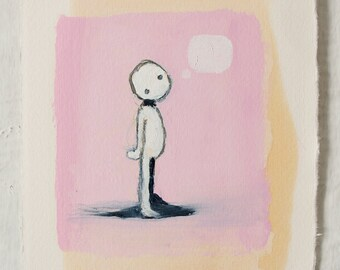 """Original Oil Painting on Paper - """"Thought Bubble"""" - Weird Surrealist Abstract Art"""