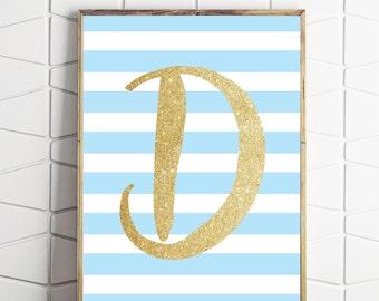 monogram printable art, nursery letter art print, girls room decor, initial custom wall decor, shabby chic art, baby shower art