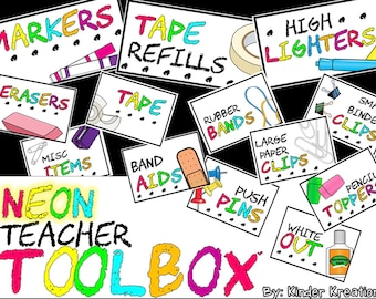 Printable Teacher Toolbox Labels - Neon Theme - Neon Classroom - INSTANT DOWNLOAD