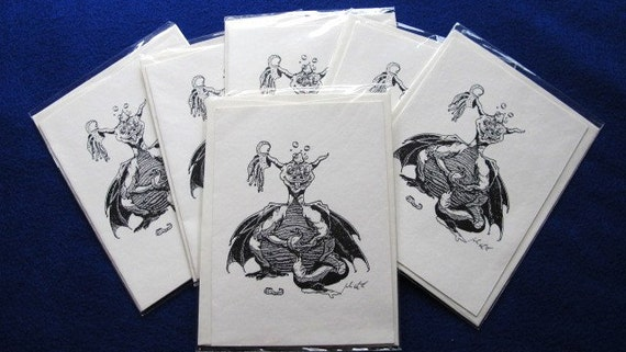 Drunk Dragon: Set of 6 4.25x5.5 blank cards with envelopes