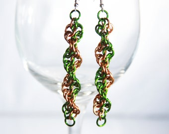 Inverted Spiral Chainmaille earrings