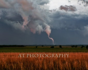 Tornado Weather forms on Kansas Prairie from a Rainy Day Storm Clouds in this Thunderstorm Photo, Landscape Photo for Wall Art, Home Decor