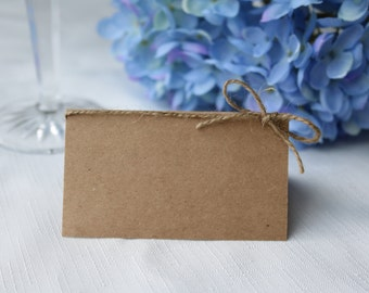 Blank Rustic Place Cards, Blank place cards with twine bow, Rustic place cards, Twine bow place cards, rustic wedding place cards