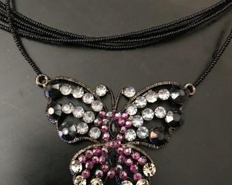 VJ rhinestone butterfly necklace