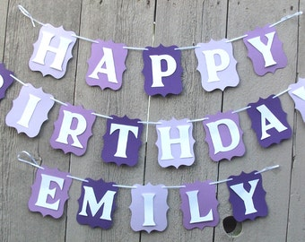 Happy Birthday Banner, Birthday banner, Personalized name party banner, Purple birthday party decorations, Purple party banner