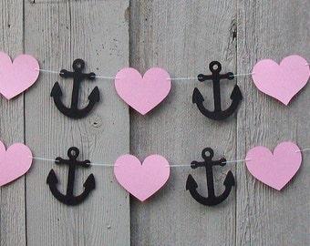 Nautical Anchor garland, Anchor and Heart garland, Nautical party decorations, Nautical party, Bridal, Baby Shower, Nautical wedding