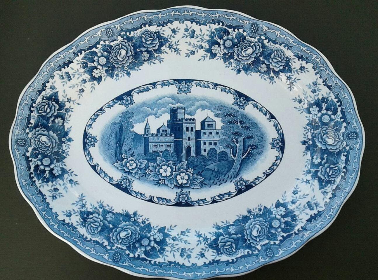 Snap Blue And White Platter Double Phoenix Nikko Ironstone Japan