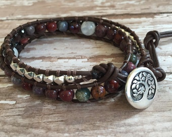 Stone Power Leather Wrap Bracelet with Jasper, Garnet and Moonstone