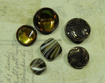 "3 Pairs Vintage Mother/Daughter Brown Glass Shank Buttons Le Chic Jewelry Sewing Crafts 7/8"" to 1/2"""