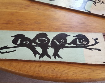 hand painted reclaimed wood sign, love birds
