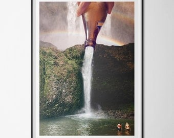 Poster / poster A3 - surrealism - digital - photomontage - rainbow - cascade photo-collage - swim