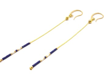 Nautical gold long earrings, minimalist dangle earrings, dainty delicate earrings, gold chain earrings, thin earrings, bohemian earrings