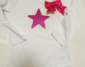 Onesie, pink star with bow tie