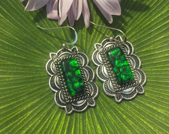 Emerald green Fused Dichroic Wavy Pattern Set on a Large Dangle Earrings Handmade