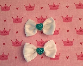 Turqiouse hearts on small hair bow